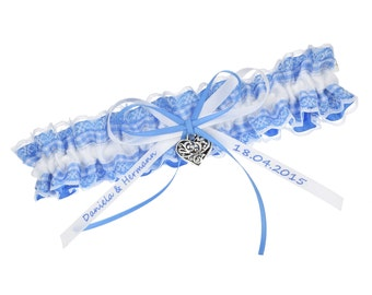 Wedding garter blue and white checked ribbon - personalised