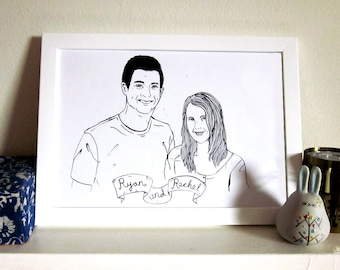 Custom couples portrait, black and white ink, hand-drawn, wedding / anniversary gift