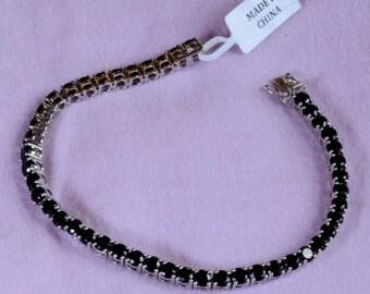 Black Spinel Tennis Bracelet