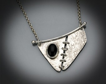 Stitched - Black Onyx & Sterling Silver necklace