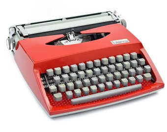 "Red typewriter ""Bianca"" with polka dots"