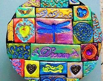 Decorated wooden box, polymer clay mosaic, round box, keepsake box, dragonfly