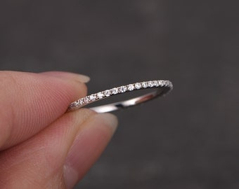 Stacking thin wedding band,petite 1mm width full eternity ring,Diamond ring,solid 14k white g,promise ring,Best friends,gift for her