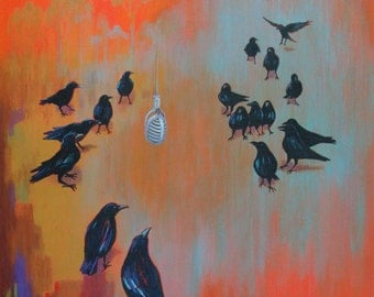 """Oringal 24x24 Framed Acrylic Painting """"Public Hearing"""" By Bonnie Luchtmeijer"""
