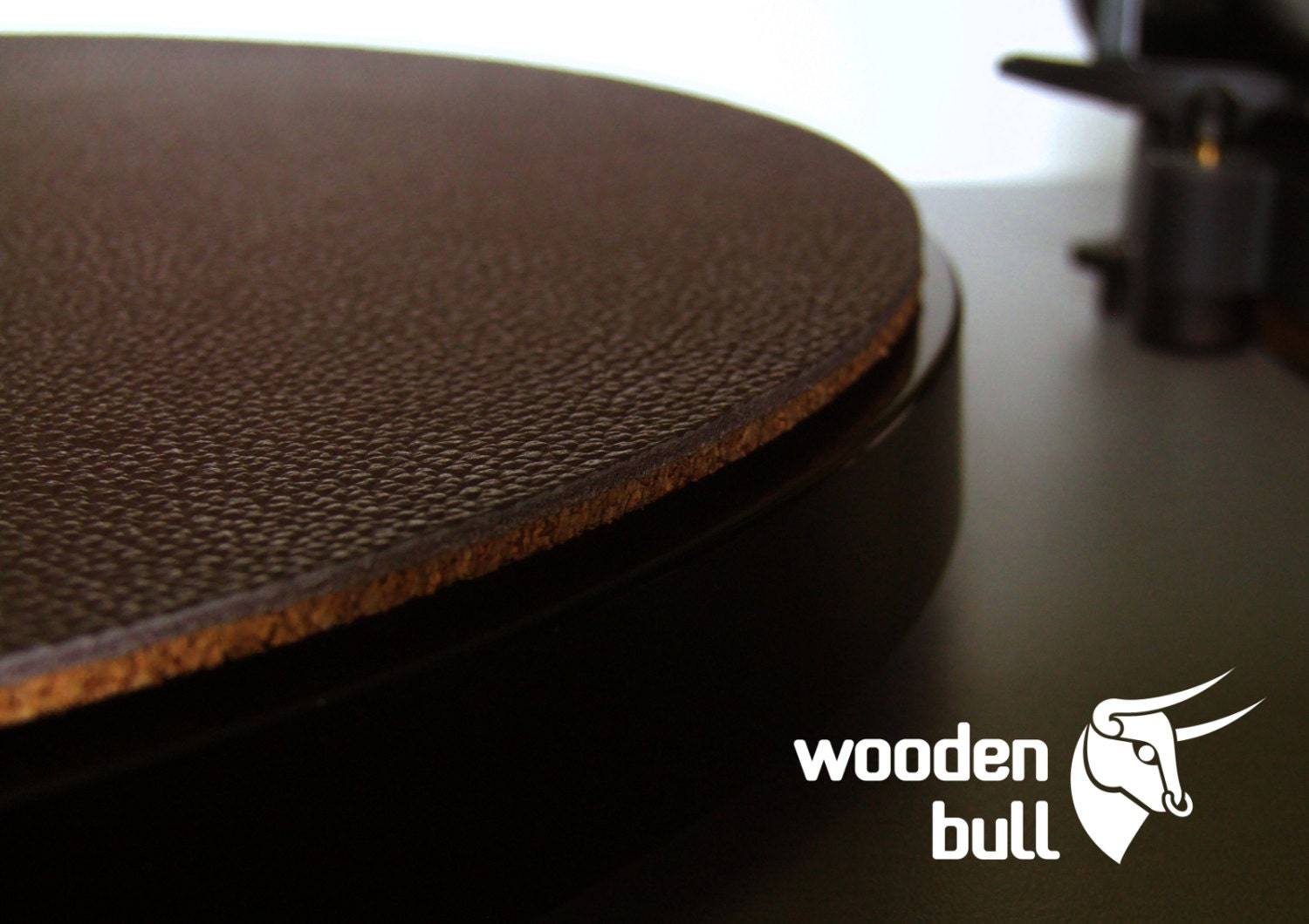 Wooden Bull Leather And Cork Audiophile Turntable Mat Brown