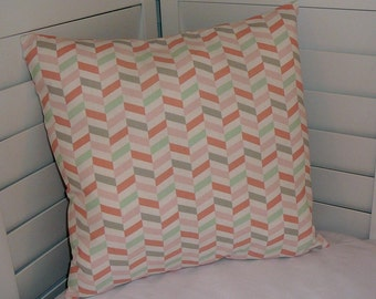 "Pillow Covers 18"" x 18"" Throw Pillow Covers, Decorative Pillow Covers, Pillows, Cotton Print Fabric, Pink, Lt Sage, Salmon, Grey, Geometric"