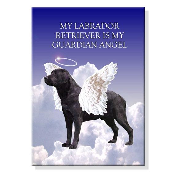 Labrador Retriever Guardian Angel Fridge Magnet (Black)
