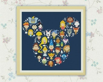 50% OFF SALE! Disney Cross Stitch Pattern, Disney Mickey cross stitch pattern Chart ,Needlecraft Needlework PDF Instant Download,S095