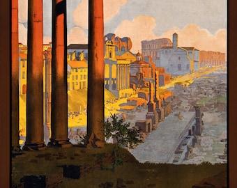 Vintage Italian Rome Travel Poster, Printable Instant Digital Wall Decor Print