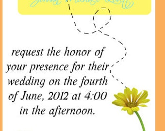 Bumble Bee and Daisies Wedding Invitation and RSVP card