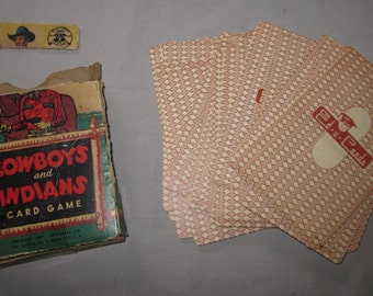 Vintage Cowboys and Indians Card Game  1949   Super Fun!!!