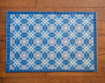 Blue and Gray Tile Pattern Floor Cloth