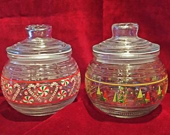 Two Retro Vintage Christmas Candy Jars - Mid Century Holidays!
