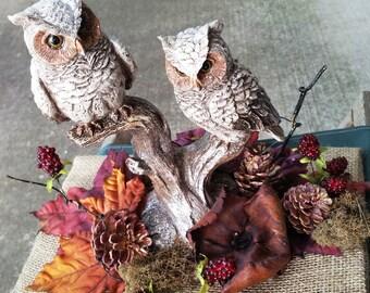Large Centerpiece Fall Scene  Woodland Owls on a Burlap Platform
