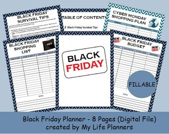 Black Friday Planner, Black Friday, Black Friday Kit, MAMBI Happy Planner Insert, Size 8.5 x 11, Fillable, Printable, Instant Download PDF