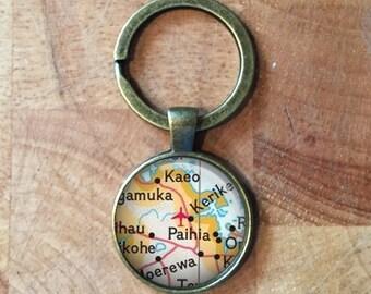 Custom Personalised Map Glass Dome Round Cabochon Keyring Keychain Gift UK