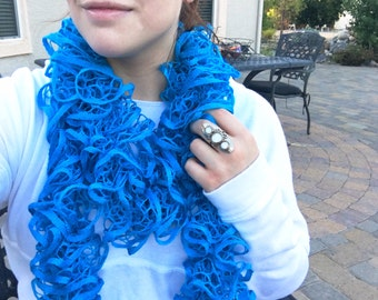 Sea Blue Ruffle Scarf