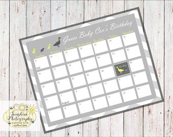 Baby Shower Calender A4