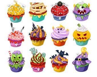 Halloween candy clipart, Halloween clipart, Halloween cupcake Clipart, Cute Ghost Clipart, Halloween Graphics, Cupcake clipart, Halloween