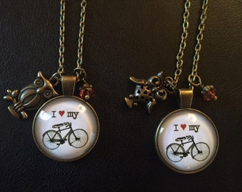 I Heart My Bike Charm Necklace with Owl Charm