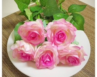 10Pcs Real Touch Rose-Pink Artificial Rose Flower for Wedding Party or Home Decoration - DIY Bouquet Table Centerpiece Flower Arrangement
