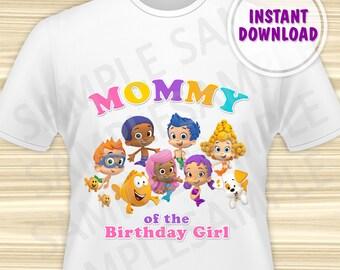 Bubble Guppies Mom of the Birthday Girl. Bubble Guppies Iron On Transfer. Bubble Guppies Birthday Shirt. DIGITAL FILE.