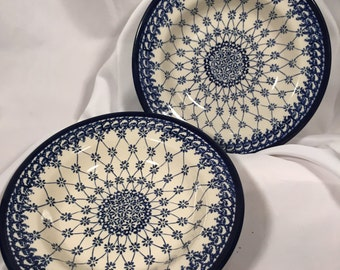 "Polish Art Pottery Pasta Dish 9"" Signed by Artist"