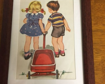 Framed Vintge Children's Book Illustration