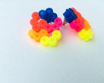 Colourful neon stud earrings