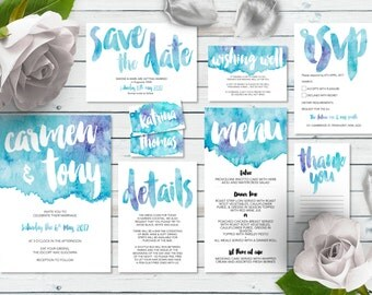 Printable Wedding Invitation Set   Marina Set   Watercolor Wedding Invite   Wedding Invitations   Save the Date   RSVP   Wishing Well   Menu