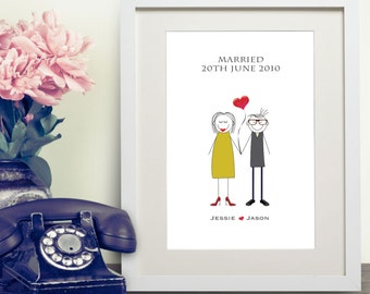 Personalised Wedding Family Him & Her Print Gift Bespoke Unique Present Celebration Congratulations Marriage Anniversary