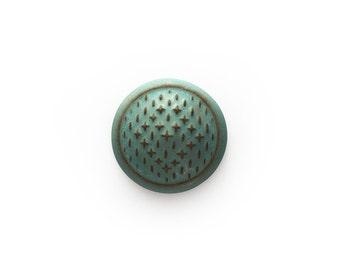 Ceramic Turquoise Blue Matte Sashiko Cabochon 1 piece