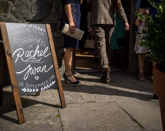 Personalised chalk board wedding sign