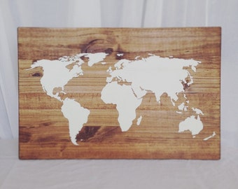 Handpainted World Map Wood Sign (Customizable)