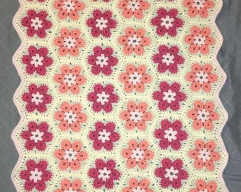 Pink and Salmon African Flower Crochet Baby Blanket