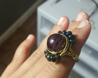 Ring, wire ring, gold ring, statement ring, boho jewelry