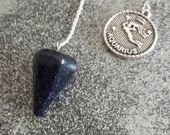 Blue Sandstone pendulum ZODIAC AQUARIUS charm