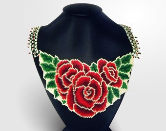 Red roses necklace Folk beaded necklace Flowers necklace Birthday gift  Exclusive handmade necklace Red Green Necklace