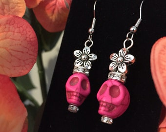 Day of the Dead Sugar Skull Earrings (Pink)