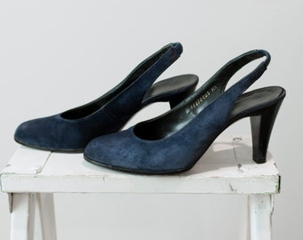 Charles Jourdan Size 6 1/2 Suede Slingback Heels from the 1960's / Size 6.5 B