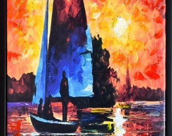 Sailing - Giclee Print with painting highlights