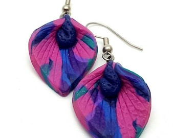Calla Lily Hook Earrings Vintage FIMO Flower Shaped Multicolored from the 90s Purple Blue Pink and Turquoise