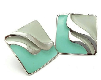 Ocean Waves Turquoise Square Stud Earrings Vintage from the 70s Mod Retro Silver tone met