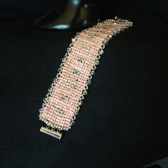 NO 51 Hand woven glass and crystal bracelet