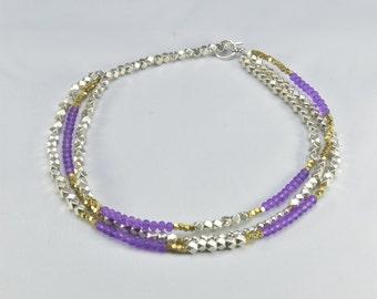 Three Level Purple Short Necklace- 0041