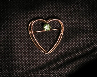 Vintage Heart Pin with Peridot Colored Crystal