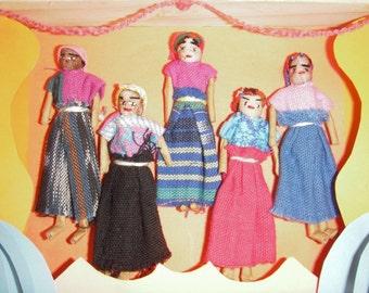 Vintage Guatemalan Worry Doll Shadow Box Art