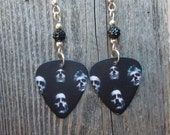 Queen II Album Cover Guitar Pick Earrings with Black Pave Beads