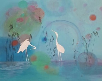 Modern Acrylic Painting of Cranes - 24X30X1.5
