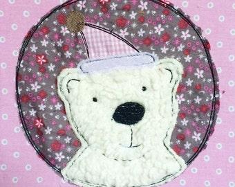 Winter polar bear Doodle embroidery file